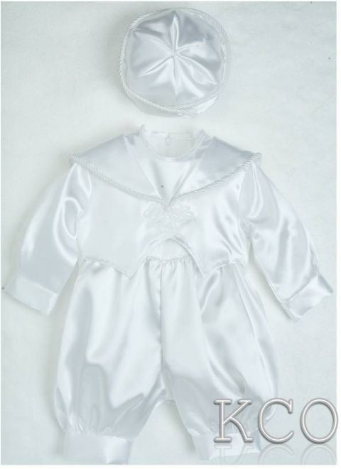 Plain Satin Romper White~ Boys Suits